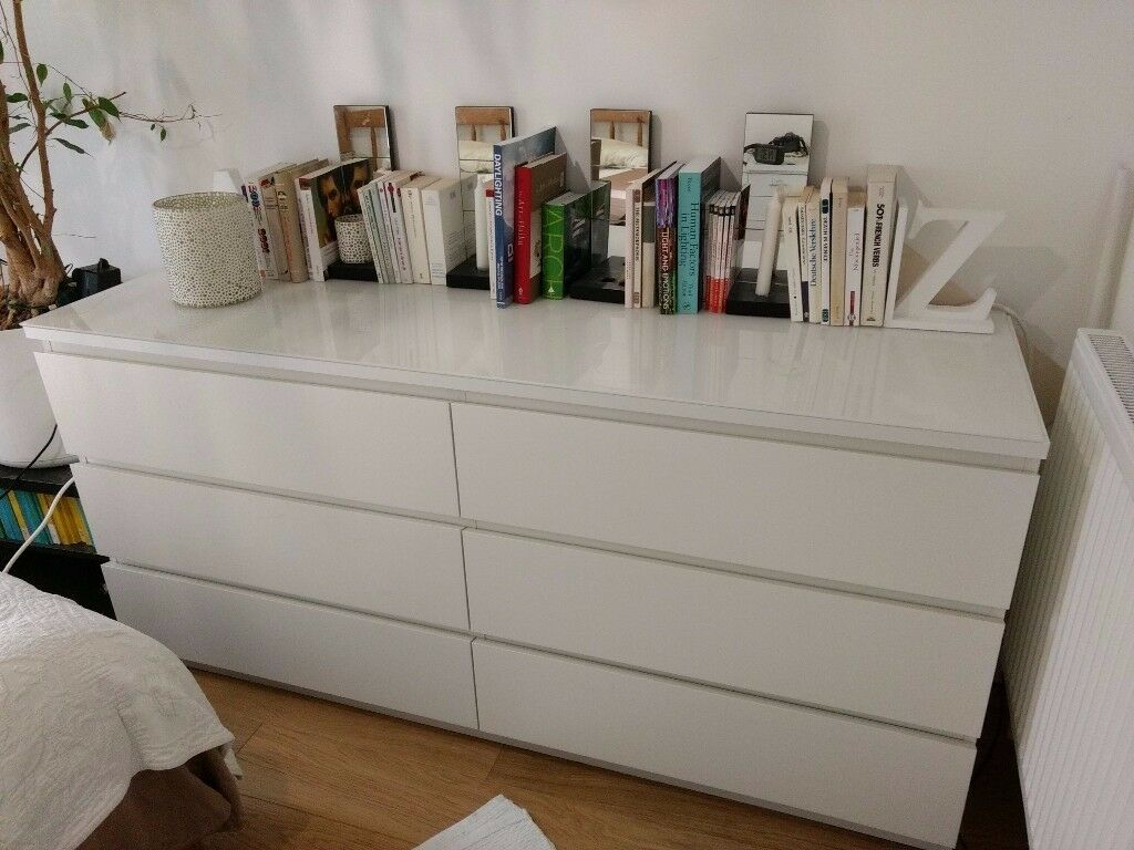 White 6 Drawer Tall Dresser