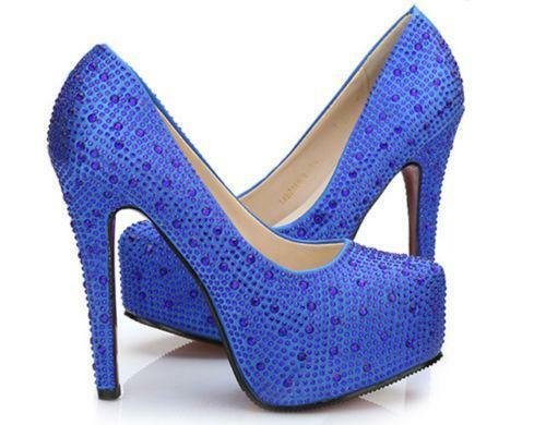 Blue Heels With Rhinestones