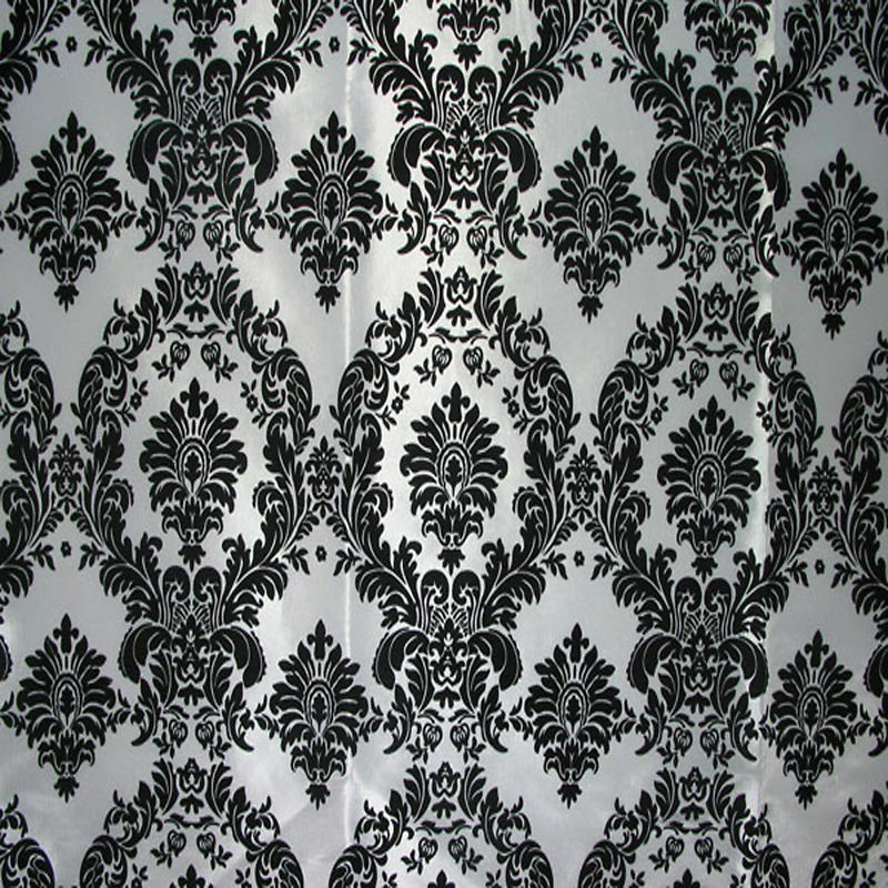 Bolt Fabric And Black Damask White