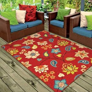 RUGS AREA RUGS 8x10 OUTDOOR RUGS INDOOR OUTDOOR CARPET FLORAL RED     Image is loading RUGS AREA RUGS 8x10 OUTDOOR RUGS INDOOR OUTDOOR