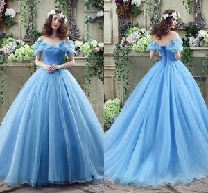 Cosplay Cinderella Wedding Dresses Ball Gown Blue Organza Princess     Image is loading Cosplay Cinderella Wedding Dresses Ball Gown Blue Organza