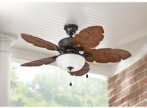 Tropical Style Indoor Outdoor Ceiling Fan 44 In  Palm Leaf Blades     Image is loading Tropical Style Indoor Outdoor Ceiling Fan 44 In