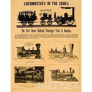 LOCOMOTIVES IN THE 1800's parchment train history poster ...