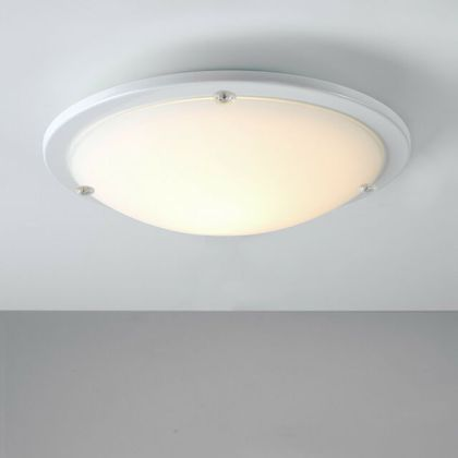 MiniSun Modern Design White Frosted Glass Round Flush Bathroom     Contemporary Gloss White Frosted Glass Flush Bathroom Ceiling Light Fitting