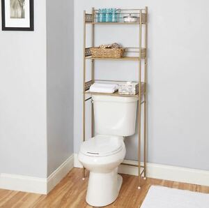 OVER THE TOILET STORAGE SHELF Gold Finish Organizer ...