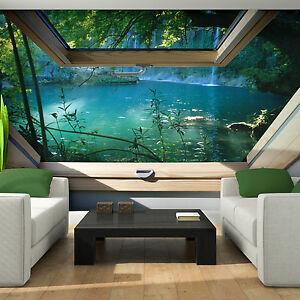 VLIES Tapete Fototapeten Tapeten Fenster Blick 3D Wasser Wald Natur 14N10410VE eBay
