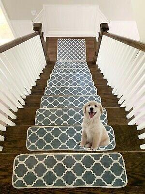 Modern Printed Design Vibrant And Soft Stair Treads Rugs Mat | Modern Carpet Stair Treads | Beige Carpet | Wood | Basement Stairs | Grey | Modern Trellis