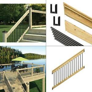 6 Ft Pressure Treated Stair Railing Kit With Black Aluminum | Black Aluminum Stair Railing | Exterior | Modern | Steel | Cable Rail | Deckorators
