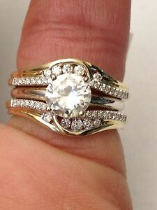 14k Yellow Gold Solitaire Enhancer Round Diamonds Ring Guard Wrap Wedding Band Ebay