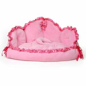 Cute Pink Princess Lace Pet Dog Cat Sofa Bed House Mat Cushion       Image is loading Cute Pink Princess Lace Pet Dog Cat Sofa