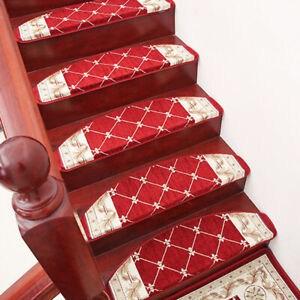 13Pc Self Adhesive Stair Tread Mats Non Slip Step Rug Carpet | Self Stick Stair Treads | Slip Resistant | Modern | Vinyl Covered | Contemporary | Pad