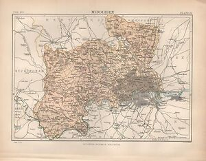 1880 ca ANTIQUE COUNTY MAP MIDDLESEX  LONDON PINNER EDMONTON STAINES     Image is loading 1880 ca ANTIQUE COUNTY MAP MIDDLESEX LONDON PINNER