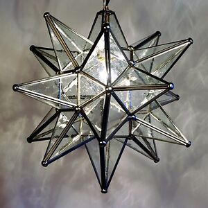 Moravian Star Pendant Light  19   15  or 10   Choose your Glass     Image is loading Moravian Star Pendant Light 19 034 15 034