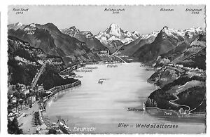 Brunnen   Lake Lucerne Stylised Map PPC 1939 PMK   Exhibition Stamp     Image is loading Brunnen amp Lake Lucerne Stylised Map PPC 1939