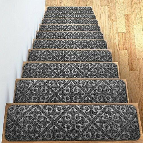 Stair Tread Non Slip Carpet Indoor Rug Mats Rubber Backing 30 X 8   Rubber Backed Carpet Stair Treads   Slip Resistant Rubber   Ultra Thin   Wood   Ottomanson   Beige