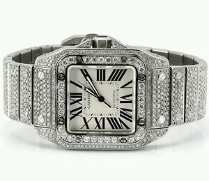 Cartier Santos 100XL Watch Fully Iced Out 26 Carat Diamonds Best     Image is loading Cartier Santos 100XL Watch Fully Iced Out 26