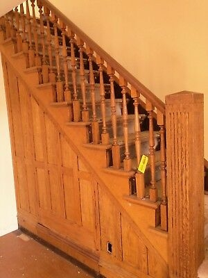 Vintage Oak Staircase Architectural Salvage Antique Balusters   Handrail To Newel Post   Craftsman Style   Indoor Railing   Wood   Gray Stain   White Oak