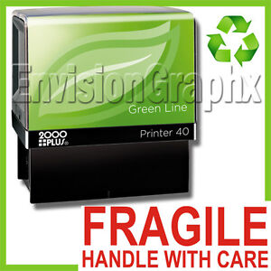 FRAGILE HANDLE WITH CARE Self Inking Rubber Stamp in Red ...