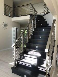 Modern Stairs Balcony Hand Rail Staircase Railing Kit Aluminium   Aluminium Handrails For Stairs   Guardrail   Exterior   Wood Wall Mounted Stair   Copper   Glass Balustrade