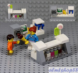 LEGO   Ice Cream Parlor Counter w  2x Minifigure Popsicle Cone     Image is loading LEGO Ice Cream Parlor Counter w 2x Minifigure