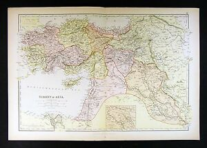 1882 Blackie Atlas Map   Turkey in Asia Minor Middle East Iraq     Image is loading 1882 Blackie Atlas Map Turkey in Asia Minor