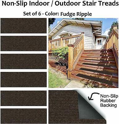 Fudge Ripple Non Slip 1 4 Thick Heavy Duty Indoor Outdoor | Outdoor Carpet Stair Treads | Indoor Outdoor | Flooring | Ottomanson Jardin | Non Skid | Anti Slip