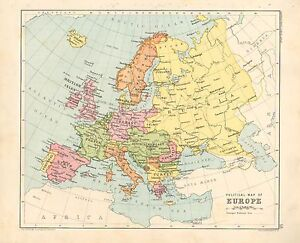 1891 VICTORIAN MAP   EUROPE POLITICAL   BRITISH ISLES SPAIN ITALY     Image is loading 1891 VICTORIAN MAP EUROPE POLITICAL BRITISH ISLES SPAIN