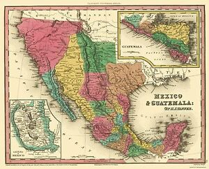 Old North America Map   Mexico and Guatemala   Tanner 1834   23 x     Image is loading Old North America Map Mexico and Guatemala Tanner