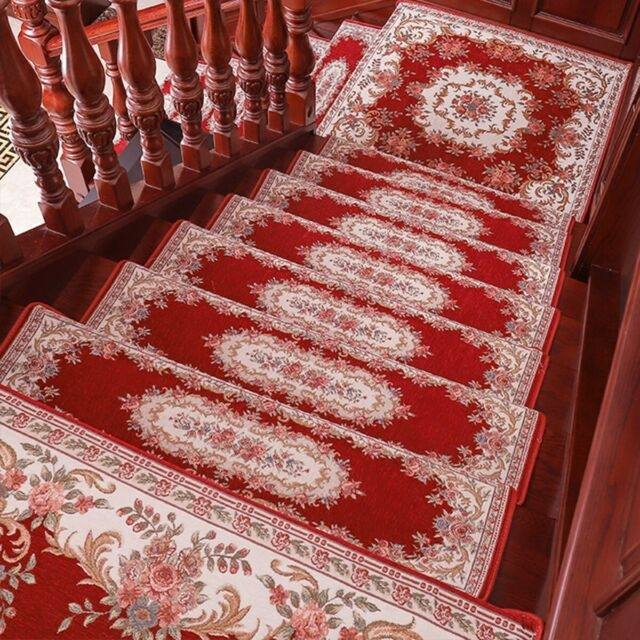 Self Adhesive Stair Treads Mats Non Slip Step Rug Carpet 14 Pack | Non Slip Stair Treads Carpet | Self Adhesive | Slip Resistant Rubber Backing | Step | Semi Circle | Adhesive Padding