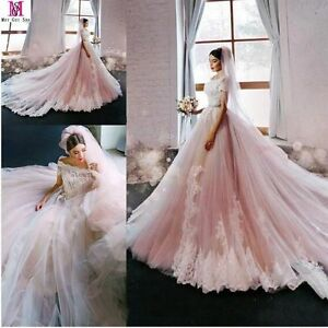 2017 New Blush Pink Princess Wedding Dress Lace Applique Luxury     Image is loading 2017 New Blush Pink Princess Wedding Dress Lace