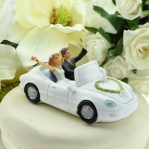 Newlyweds Bride and Groom Waving from Car Wedding Cake Topper   eBay Image is loading Newlyweds Bride and Groom Waving from Car Wedding