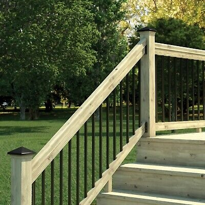 6 Ft Pressure Treated Stair Railing Kit With Black Aluminum | Black Aluminum Stair Railing | Interior | Classic | Simple | Square Metal | Pressure Treated Deck Black