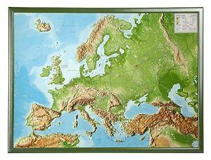 Real 3d Relief Map Europa with Wood Frame English 30 5 16x22 3 8in     Image is loading Real 3d Relief Map Europa with Wood Frame