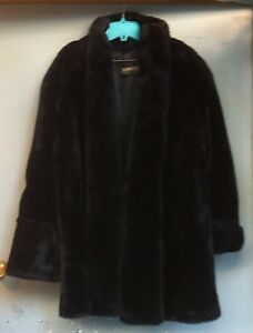 Monterey Fashions Vintage Women s Black Faux Fur Coat Made In U S A      Image is loading Monterey Fashions Vintage Women 039 s Black Faux