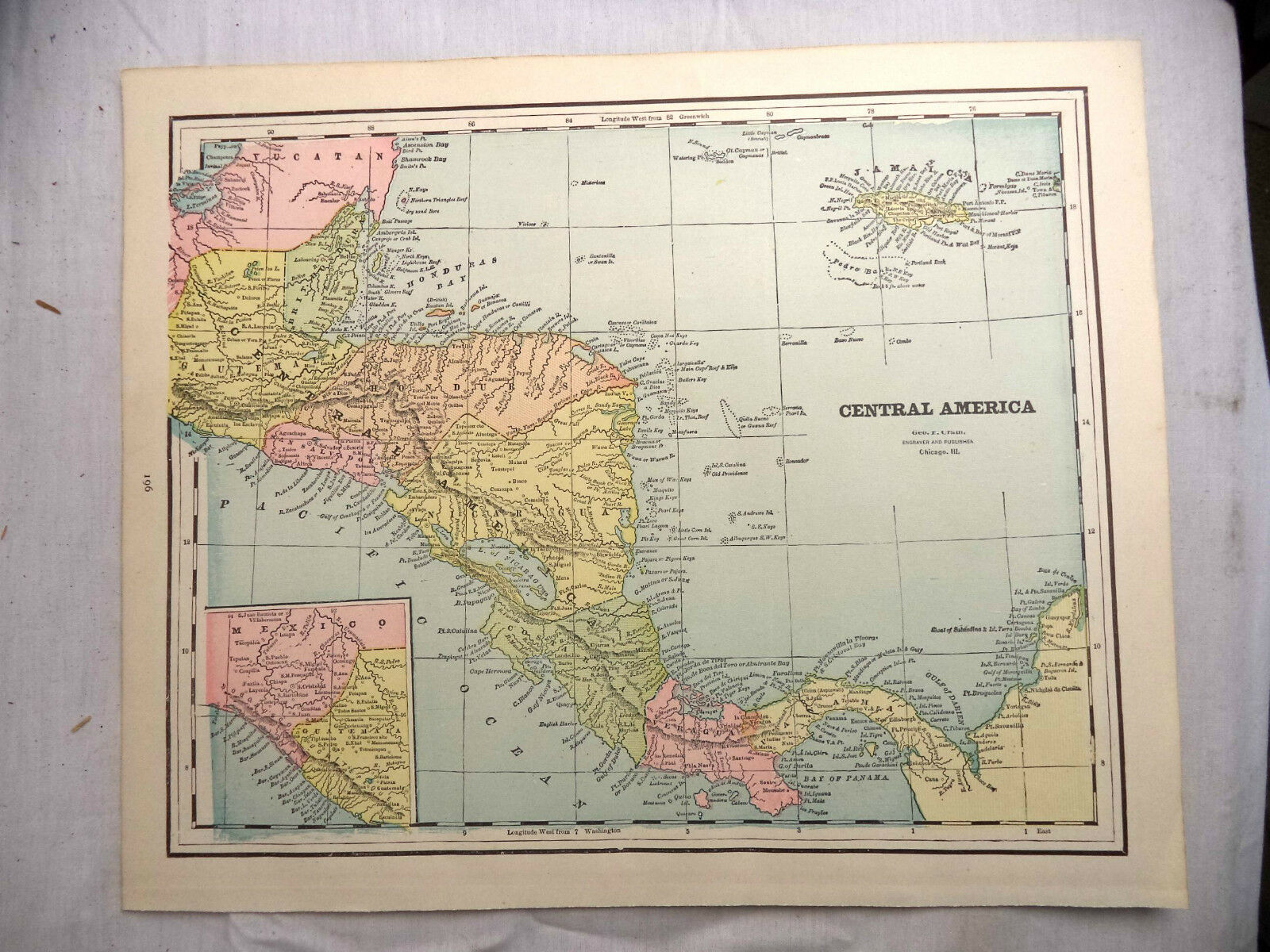 Maps  Atlases   Globes Antique 1891 Geo F Cram Color Map Mexico Cuba Central America