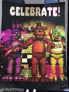 Five Nights At Freddys FNAF Fazbear Celebrate Poster 24  x 18  100lb     Image is loading Five Nights At Freddys FNAF Fazbear Celebrate Poster