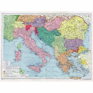 ITALY and THE BALKANS   Territory Changes since 1914   Vintage Map     Image is loading ITALY and THE BALKANS Territory Changes since 1914