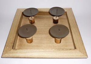 Adventskranz Adventsteller Holz modern eckig viereckig natur braun 32 cm eBay