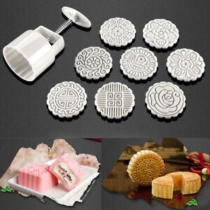 100g Round Cake Pastry Mooncake Mould 8 Fower Stamps Moon ...