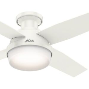 44  Hunter Contemporary Low Profile Ceiling Fan with LED Light Kit     Image is loading 44 034 Hunter Contemporary Low Profile Ceiling Fan