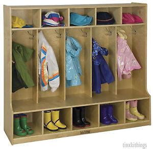 Kids Coat Shoe Locker Bench Pre School Class Room Cubby ...
