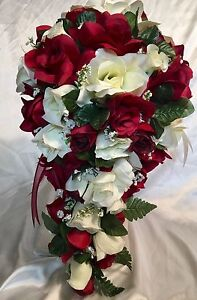 21 Piece Bridal Bouquet Package Silk Wedding Flowers BURGUNDY IVORY     Image is loading 21 Piece Bridal Bouquet Package Silk Wedding Flowers