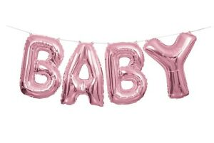 PINK Baby Letter Balloons Banner Kit   New Baby Shower Party     Image is loading PINK Baby Letter Balloons Banner Kit New Baby