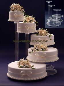 5 TIER CASCADING WEDDING CAKE STAND STANDS SET   eBay Image is loading 5 TIER CASCADING WEDDING CAKE STAND STANDS SET