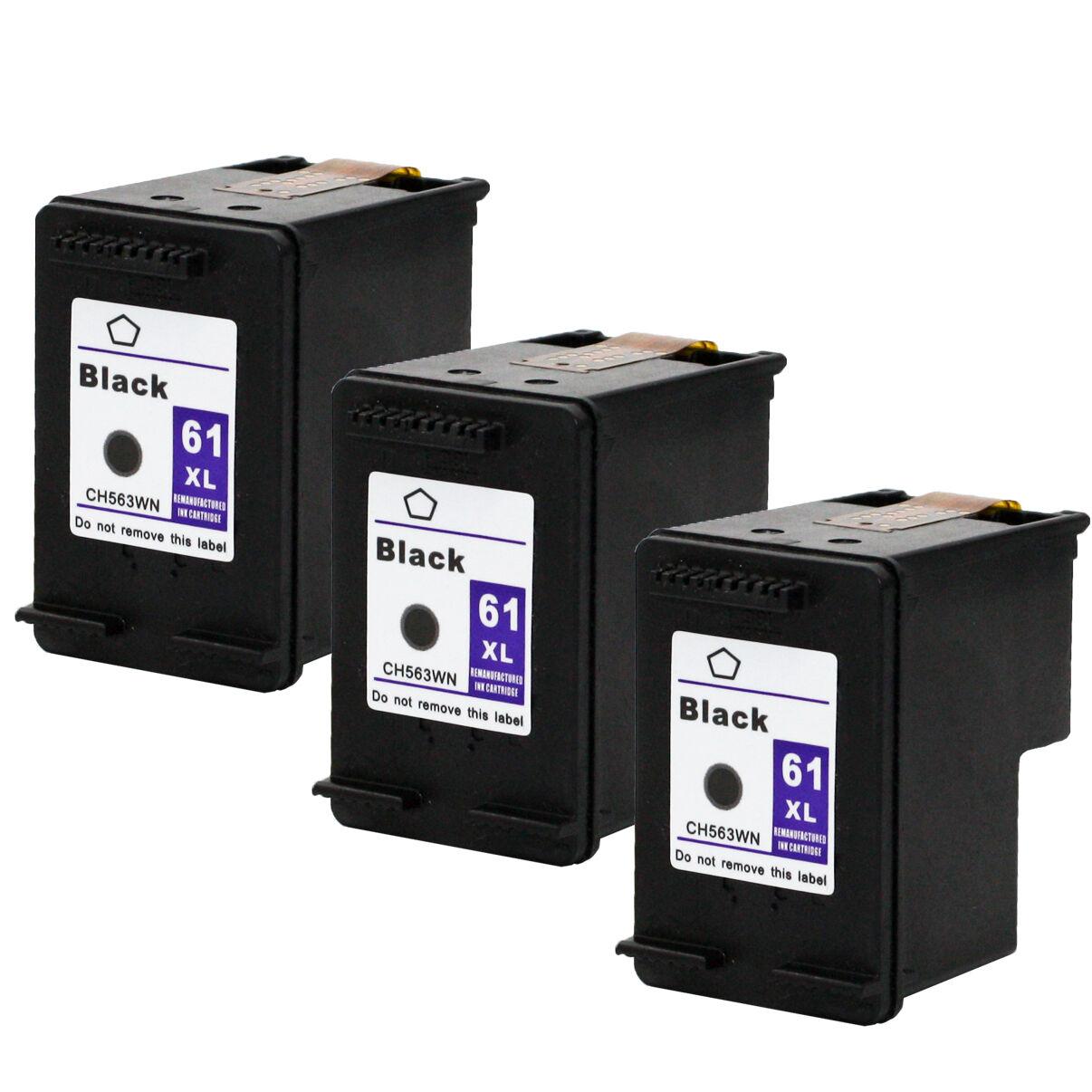 3pks Hp 61xl 61 Xl Black Ink Cartridge For Deskjet 2512