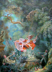 DAVID ALDUS ORIGINAL OIL CANVAS  The Swing  AFTER FRAGONARD ROCOCO     Image is loading DAVID ALDUS ORIGINAL OIL CANVAS 034 The Swing