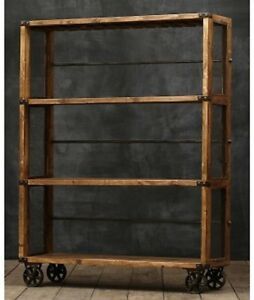 BONNER   INDUSTRIAL MESH BOOKCASE BOOKSHELF ON CAST IRON WHEELS WITH     Image is loading BONNER INDUSTRIAL MESH BOOKCASE BOOKSHELF ON CAST IRON
