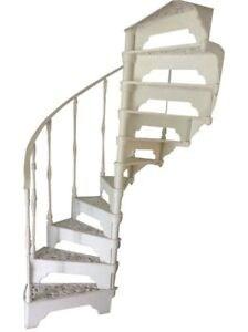 Cream Cast Iron Spiral Staircase Stairs Indoor Outdoor | Wrought Iron Spiral Staircase | Wood | Gothic | Small | Mezzanine | Internal