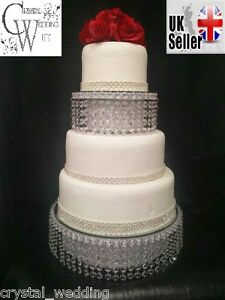 Crystal wedding cake stand   separator set   round or square   eBay Image is loading Crystal wedding cake stand amp separator set round