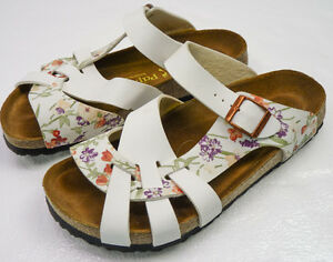 Papillio by Birkenstock Pisa Soft Bed FLORAL White Strappy ...